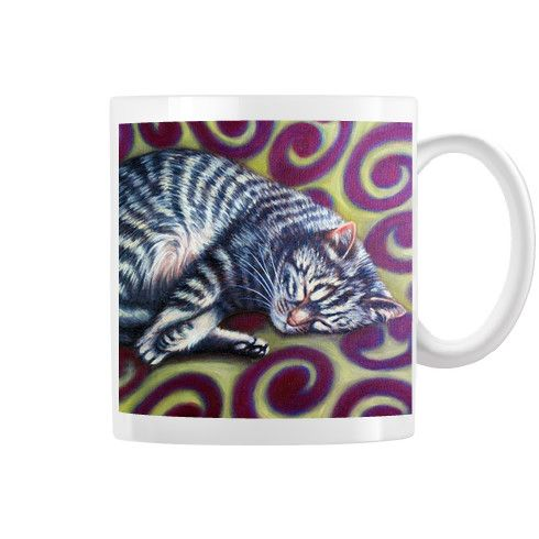 Tabby Cat Swirl Pattern Mug by simon-knott-fine-artist at zippi.co.uk