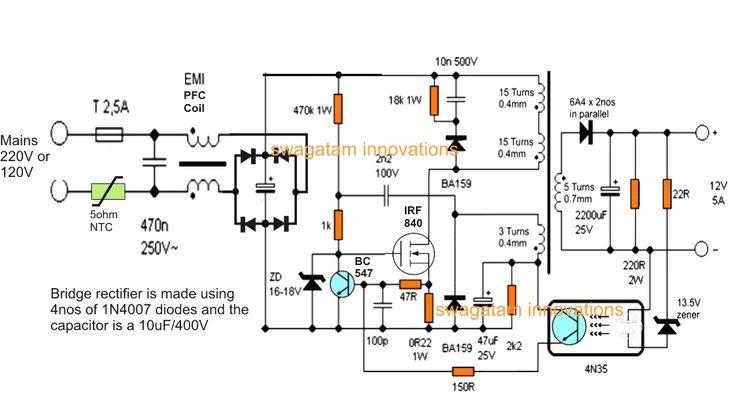 Цепь зарядного устройства SMPS 12 В, 5 А | Самодельные ...