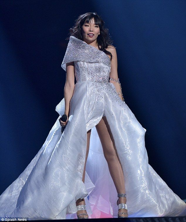 Preparing: Dami Im stunned in a Steve Khalil gown as she attended dress rehearsal for the ...