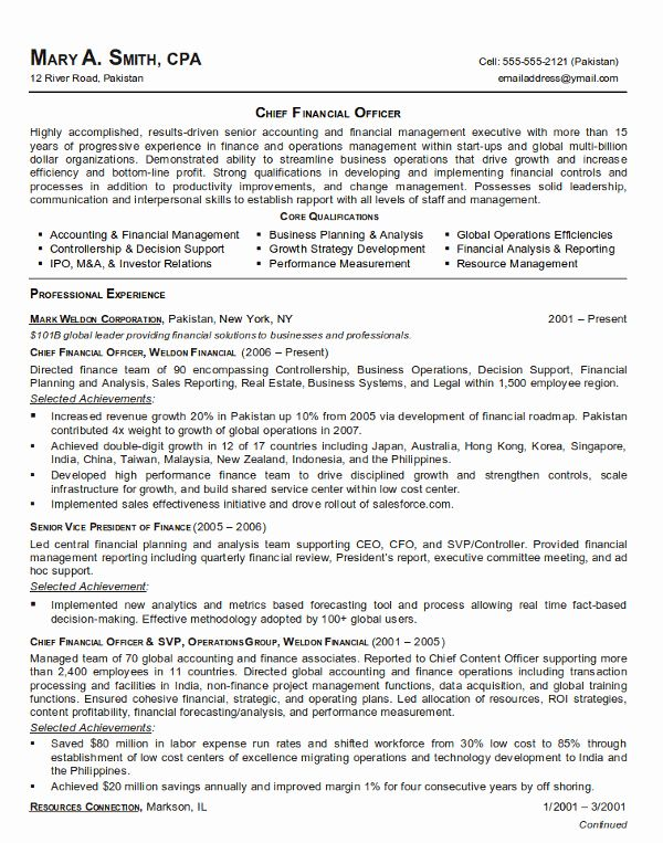 Chief Financial Officer Resume New Chief Financial Ficer Cfo