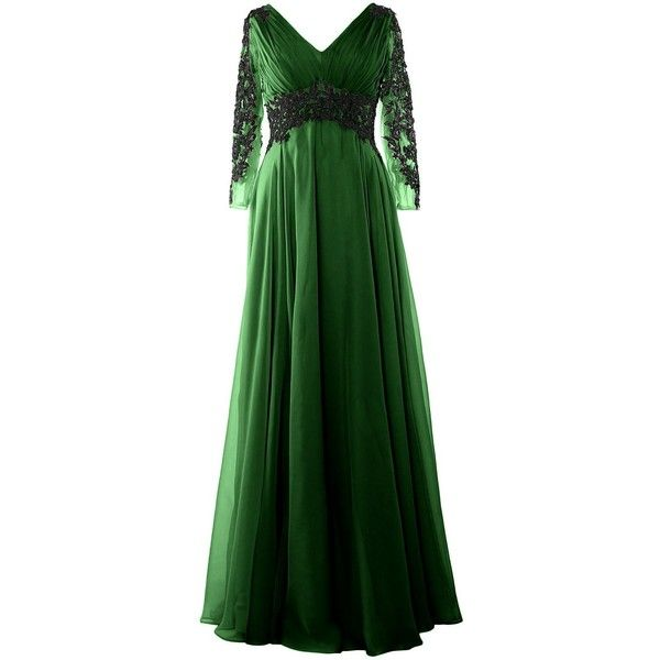 MACloth Women V Neck Mother of the Bride Dress Long Sleeve Formal... (115 BRL) ❤ liked on Polyvore featuring dresses, gowns, green long sleeve dress, long sleeve ball gowns, mother of the bride gowns, long sleeve gowns and long sleeve evening dresses