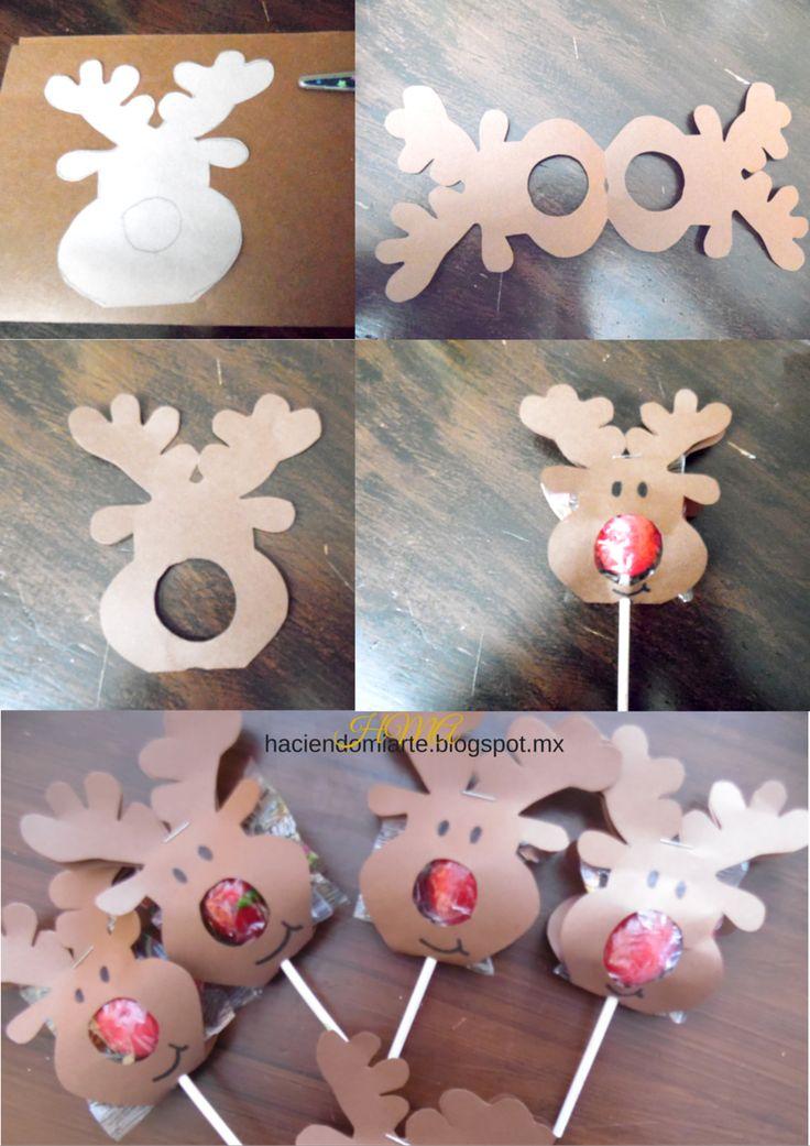 Paletas de Reno o Paletas Rodolfo, Un regalo muy fácil y económico de hacer. Disfrutalas. #Navidad #HaciendoMiArte
