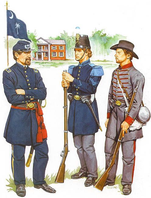"""Captain, S. Carolina - Cpl., Alabama Volunteer Corps - Pte., 11 th Mississippi Inf. Regt. (1861)"""