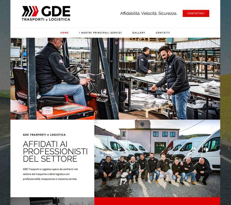 Ideazione e studio di un nuovo logo per l'azienda di logistica e trasporti GDE Trasporti. Realizzazione del sito.