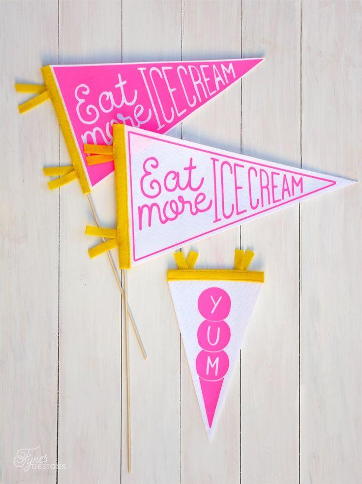 Eat More Ice Cream DIY Pennant flag with Neon heat transfer vinyl