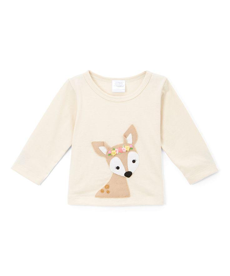 Look at this #zulilyfind! Victoria Kids Ecru Deer Appliqué Long-Sleeve Tee - Infant, Toddler & Girls by Victoria Kids #zulilyfinds