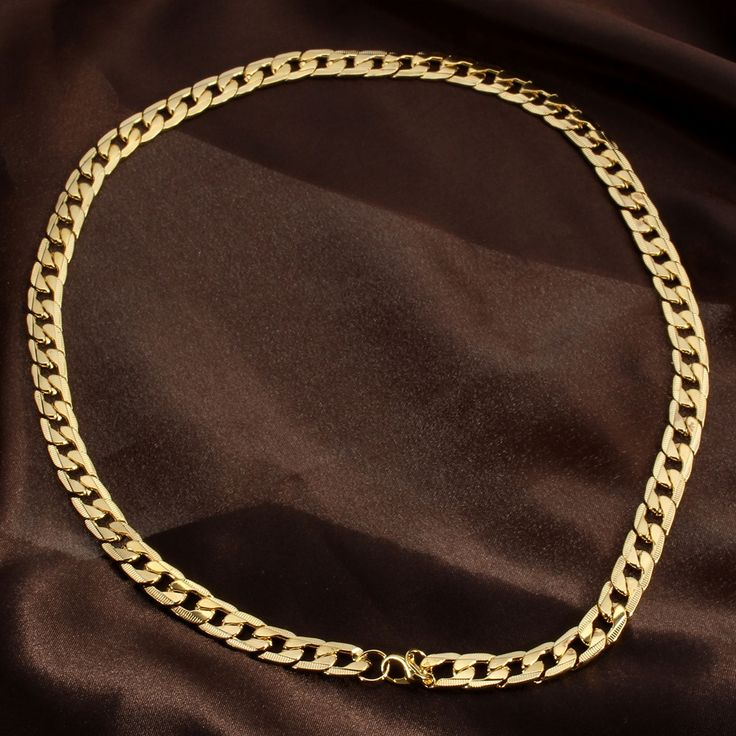 18K Gold Plated 10mm Men Chain 24inch Necklace Jewelry