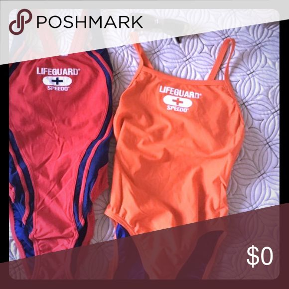 New Speedo Lifeguard Swimsuit, Orange Lifeguard Speedo Swimsuit is brand-new and in perfect condition, never worn.  One piece baiting suit with high cut sides.   Bright orange with blue lining.  Tag says size 8/34, but looks small.  Made from nylon and spandex. Speedo Swim One Pieces