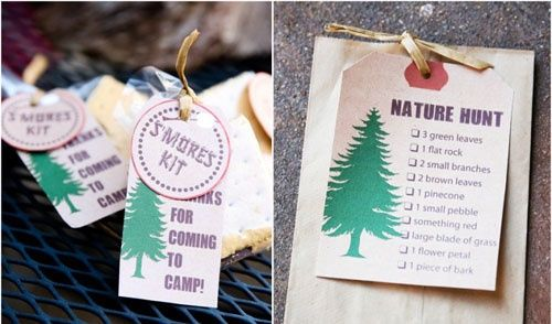 camping and nature themed birthday party scavenger hunt printables and smores favors - tomorrows adventures
