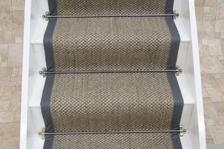 Sisal Oriental Pewter with leather border 7x0.64m