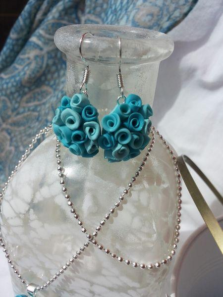 pendientes de flores turquesa de ARTPERSONAL por DaWanda.com