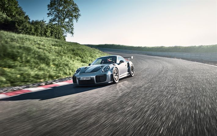 Download imagens 4k, Porsche 911 GT2 RS, pista de rolamento, 2018 carros, sportcars, Porsche
