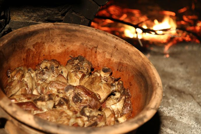 Sifnos Mastelo (lamb cooked in a clay pot), Greece