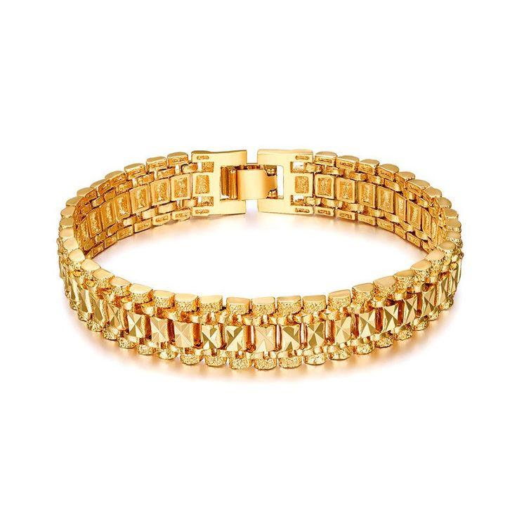 Wholesale 18K Gold Plated Bracelet Men or Women Trendy Chunky Chain Vintage