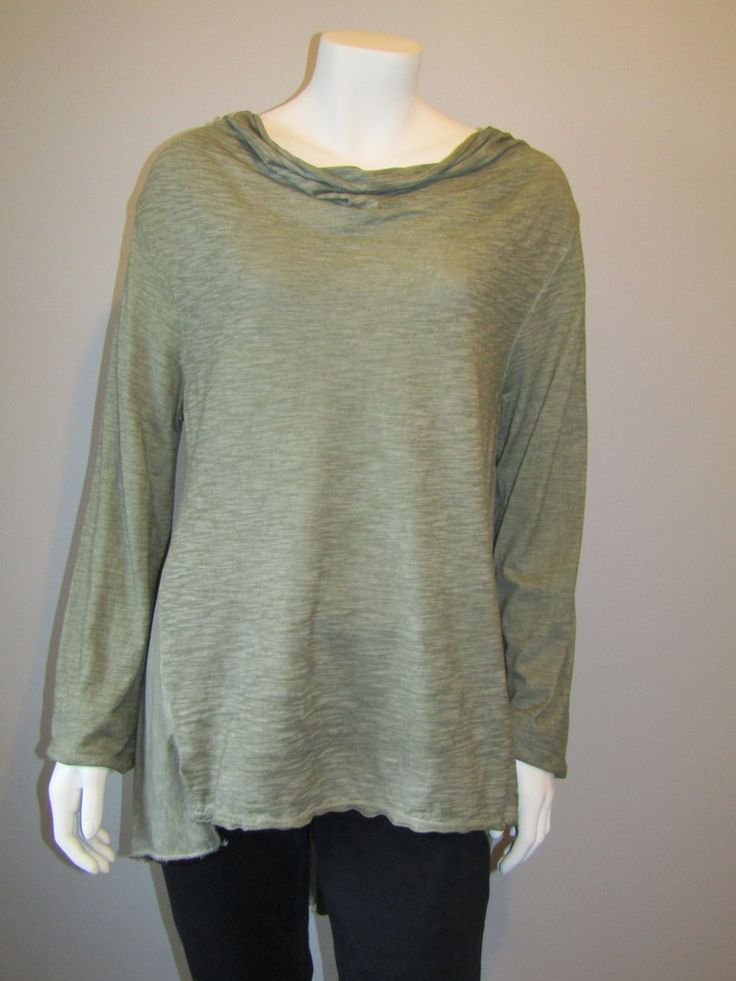 Lagenlook cowl neck top green 1527