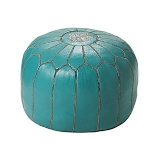 Turquoise Moroccan Leather Pouf an ottoman like this one could fit underneath the piano bench and be used for extra seating during gatherings
