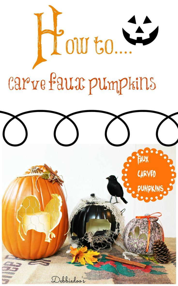 Faux Carved Pumpkins by @Debbiedoo's #MPumpkins