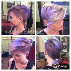 Justin Dillaha--master of short hair! Shaved side, pixie cut, long bangs