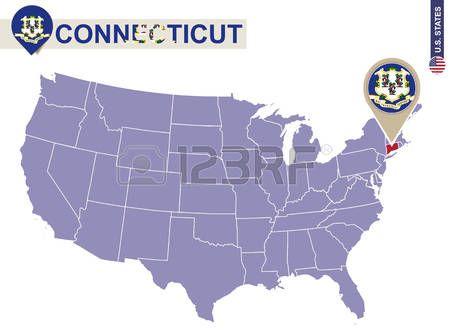 Estado de Connecticut en EE.UU. mapa. bandera de Connecticut y el mapa. Estados Unidos.