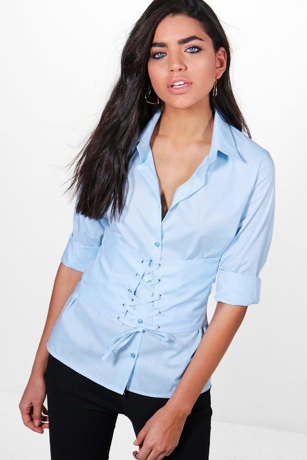 boohoo Carly Corset Tailored Shirt