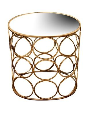 70% OFF Iron Circle Accent Table, Antique Gold