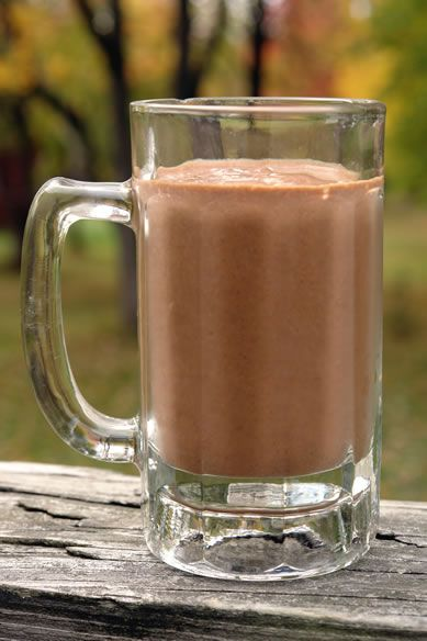 Gluten-free & dairy-free diet chocolate pumpkin spice milkshake. And recipe for the chia cubes: gluten-free-blog....