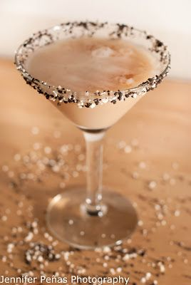 Reindeer Tracks 2 oz chocolate vodka (I used Pinnacle Chocolate Whipped) 1 oz hazelnut liqueur 1/2 oz dark creme de cacao 1/4 oz cream cookie crumbles for rimming martini glass Rim your martini glass with your cookie crumbles. In a shaker add ice and all of the ingredients above except for the cookie crumbles. Shake and strain your cocktail into your rimmed martini glass