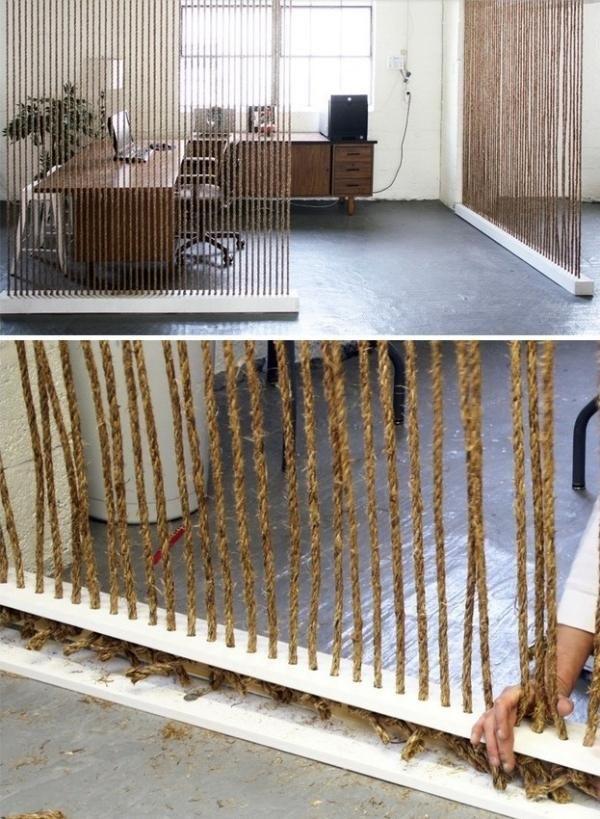 Seil Raumtrenner Design Trennwand-selber bauen-ideen, Raumteiler mit Bambusseil