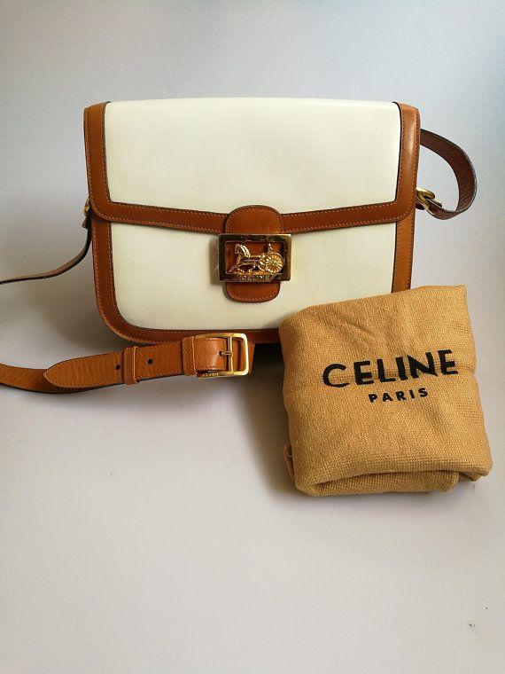 Celine Horse Carriage White Leather Vintage Shoulder bag 1980s ... 72ba750ce2ece