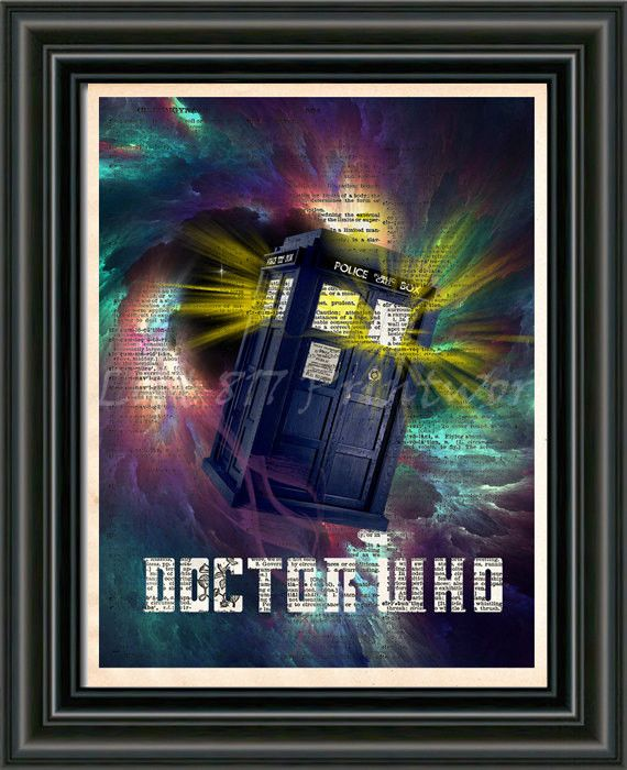 Doctor Who art print of the Awesome Tardis traveling through time and space! These unique and original artwork are printed on authentic vintage early 1900's dictionary paper from books i have rescued