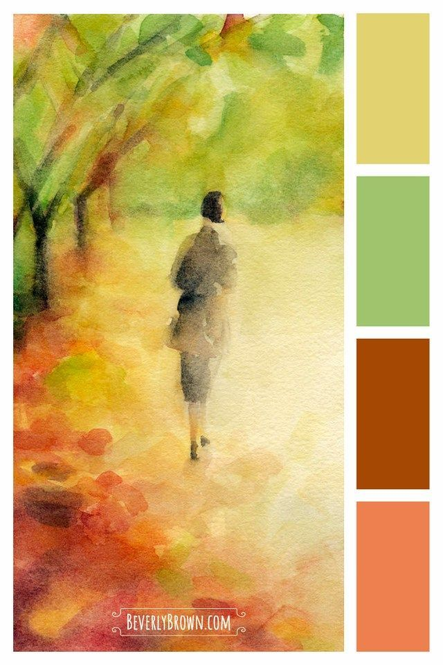 Woman Walking In Autumn Leaves Rust Color Schemes Bedroom Color