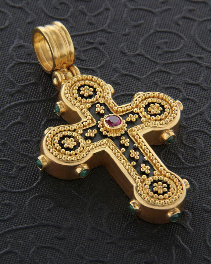 Handmade Cross Gold K22 with Ruby & Emeralds | eleftheriouonline.gr