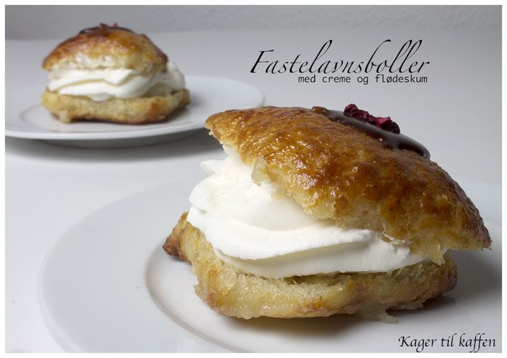 Fastelavnsboller med creme og flødeskum, recipe in Danish from the Kager til Kaffen blog