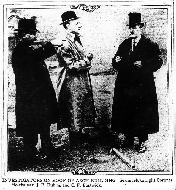 Coroner Holzhauser, and Assistant District Attorneys J. Robert Rubin and Charles Bostwick investigate the roof of the Asch Building in order to prepare their prosecution of Max Blanck and Isaac Harris, Triangle Waist Company owners after the Triangle fire | by Kheel Center, Cornell University