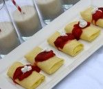 Passover Cheese Blintzes with Strawberry Sauce