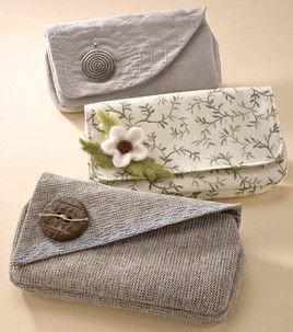 Homemade clutches. (free instructions and pattern)