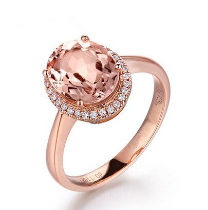 Розового золота кластера кольцо для женщин с 6 мм 1.25 карат овальные кубический циркон камень урожай ретро Laides кольца