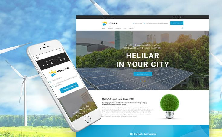 Best 12 Environmental & Clean Energy WordPress Themes (Solar, Wind and Recycling) - Helilar (theme for your WordPress site) Item Picture