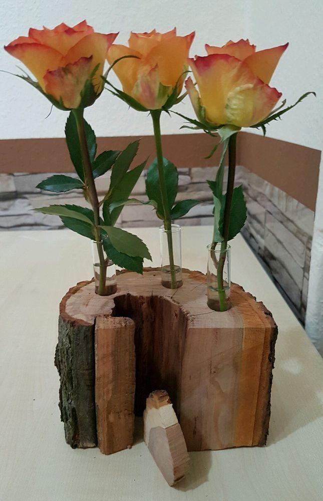 Holzvase Vase Baumscheibe Pflaume Deko Holz Natur