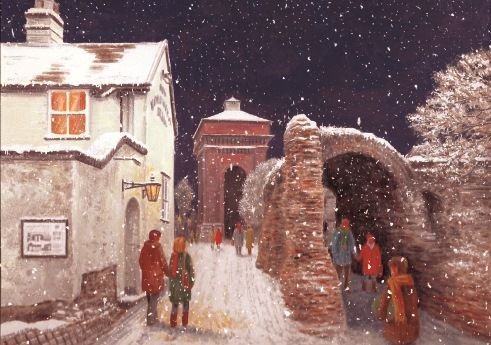 """Jumbo, Colchester. 125 x 175mm. £4.50.  All cards come in packs of 10.  Greeting in cards: """"With Best Wishes for Christmas and the New Year."""""""