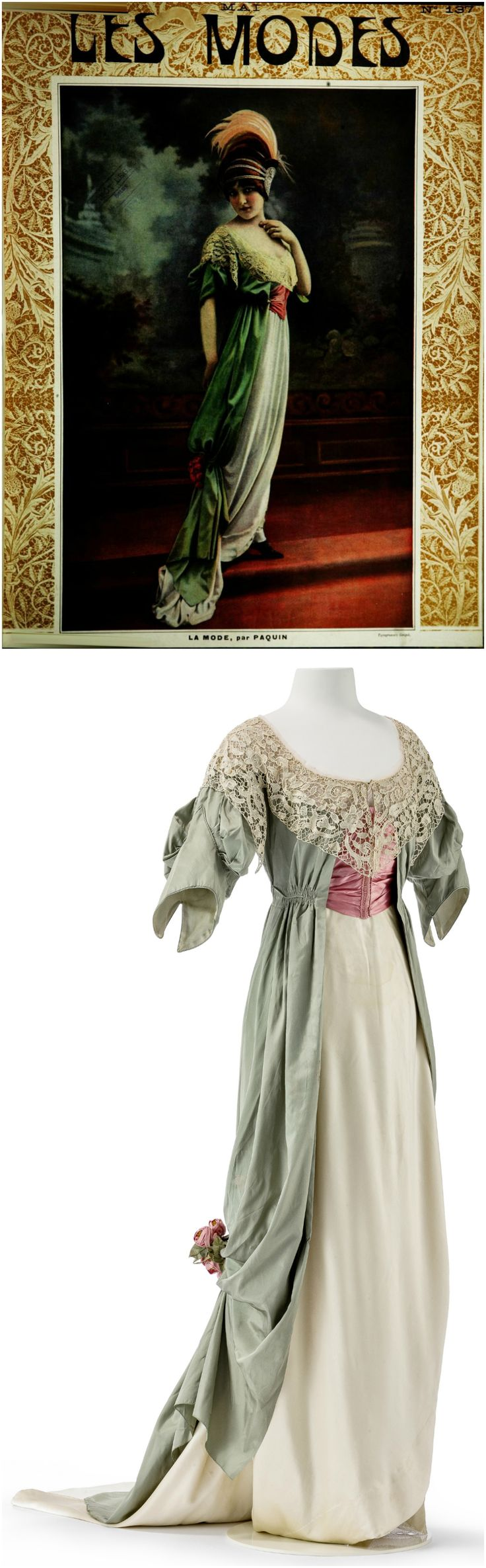 "Two-piece evening dress, ""Boissy,"" by Jeanne Paquin, Paris, 1912, pictured on the cover of the May 1912 issue of ""Les Modes."" Photos (Top): courtesy of Gallica BnF; (Bottom): © Staatliche Museen zu Berlin, Kunstgewerbemuseum / Stephan Klonk. Dress in pastel shades combines a ""tunique"" in light green silk in tabby weave with a skirt made of cream silk satin. The rose red corset belt accentuates the high waist. CLICK THROUGH FOR BIGGER IMAGES."