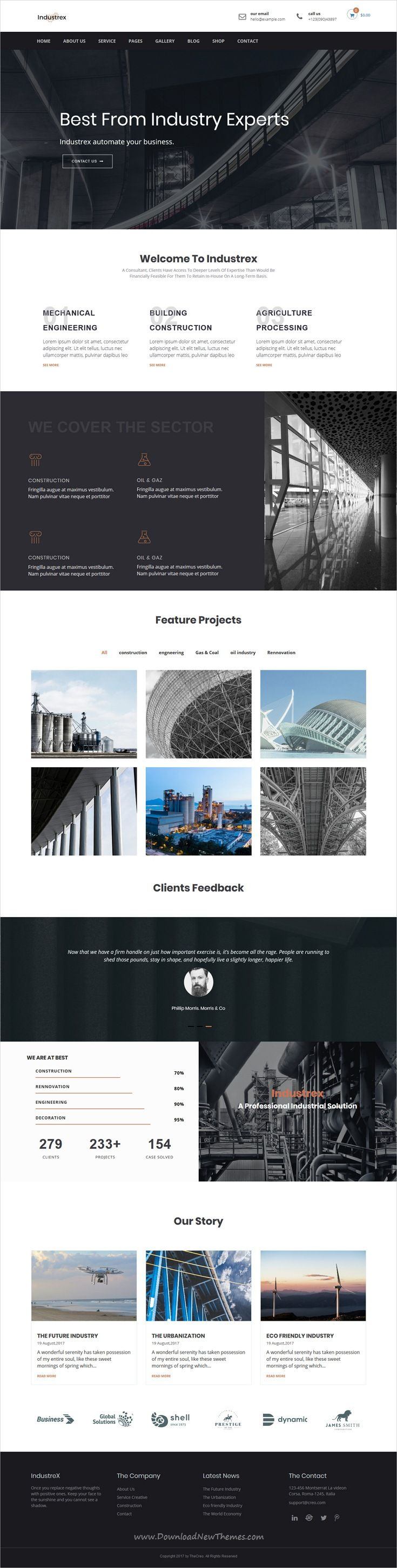 Industrex is clean and modern design 2in1 responsive #WordPress theme for #industry and #construction company website download now..