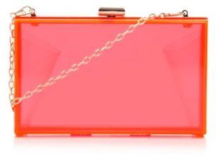 Skinnydip Neon pink clear plastic clutch bag on shopstyle.co.uk