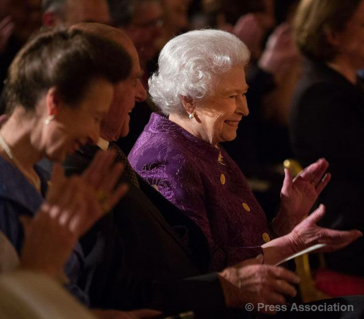 The Queen and The Duke of Edinburgh, with The Princess Royal, listen to poetry readings at a reception at Buckingham Palace for contemporary British poetry, 19 November 2013