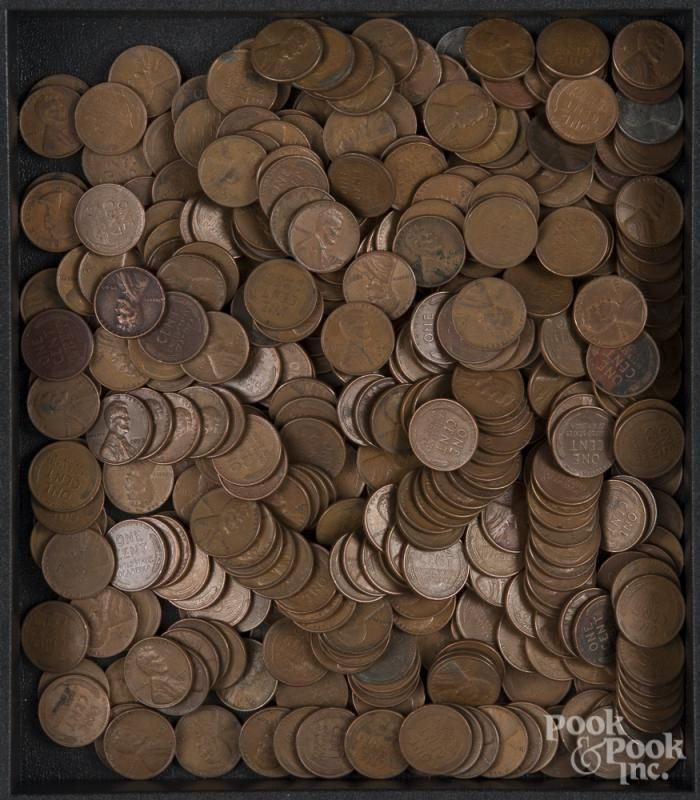 Large group of pre-1964 US nickels and pennies. - Price Estimate: $60 - $90