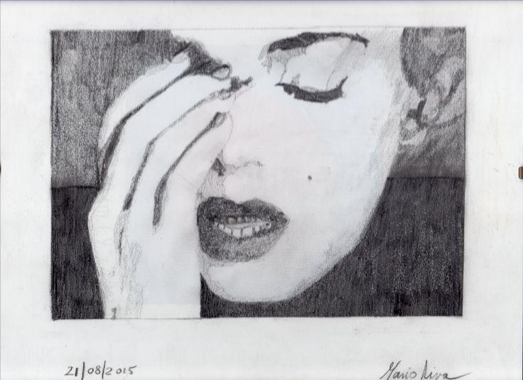 Disegno a matita di Marilyn piangente dopo il divorzio con Joe di Maggio