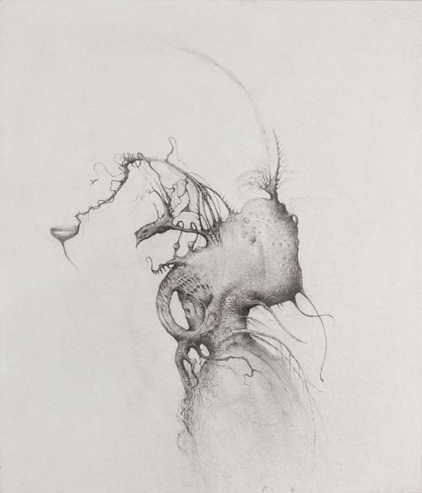 Vegeto-morfo. ( study for Du-Mal ) 2010  ink on linen  cm 36 x30