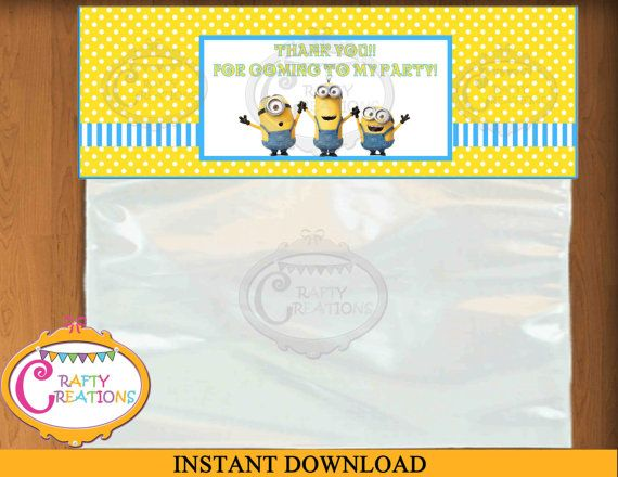 Minions Bag Topper - Despicable Me Bag Topper... Super cute party favors for kids #Minions #Birthday #Printable
