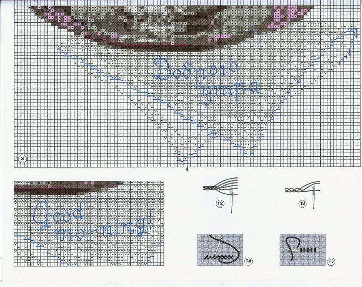 "Vyshivalka: Download Riolis 1269 embroidery pattern of ""Good morning""  2-5"