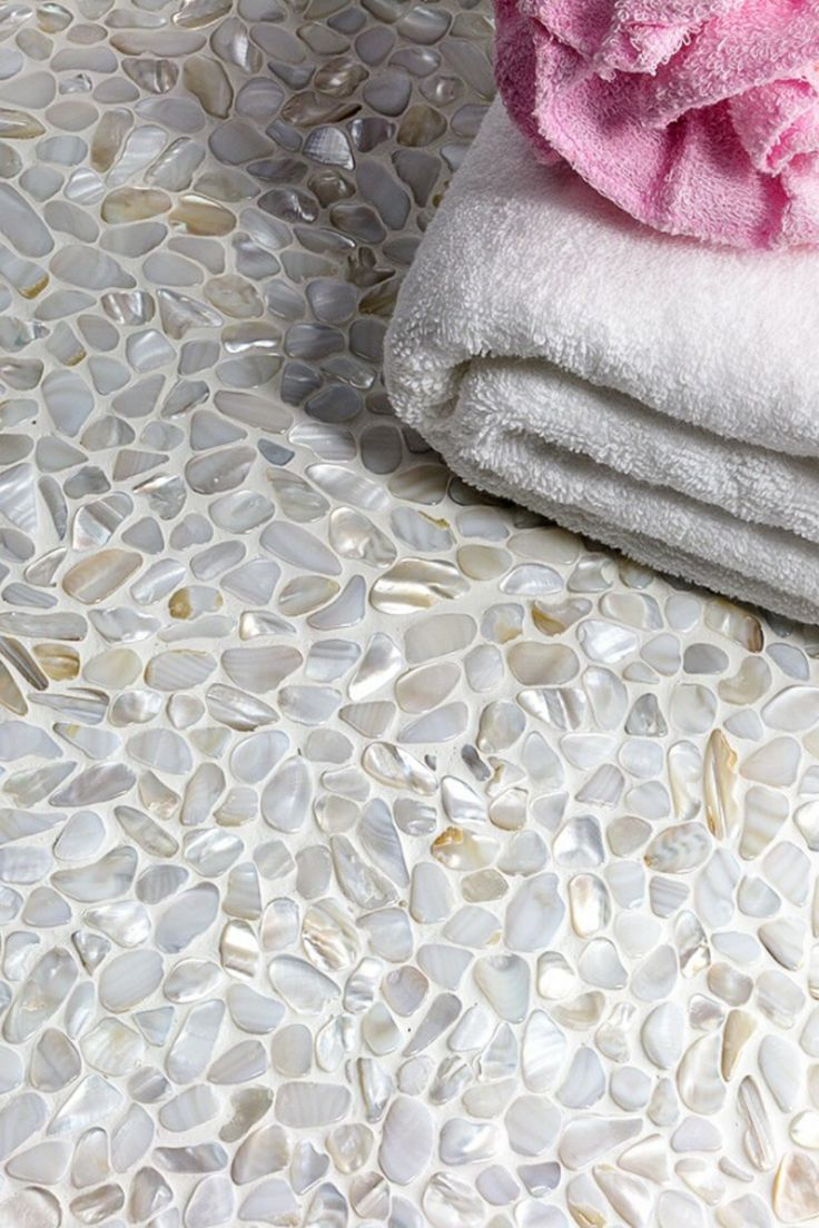 Oyster White Pearl Pebbles Tile in 2020 Stone shower